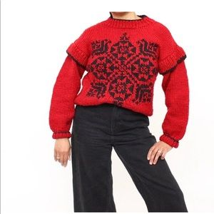2 for $25 🎀 Vintage Hand Knit Snowflake Sweater